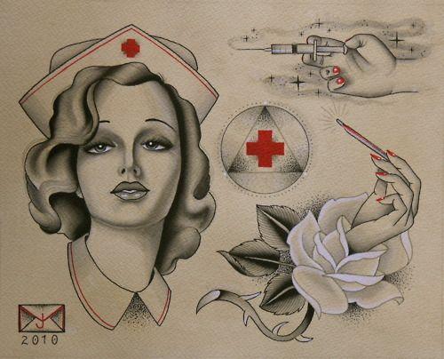 beautiful classic tattoo flash, nurse, john mohawk