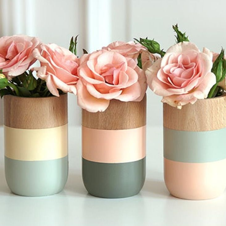 Painted wooden vases (set of 3)