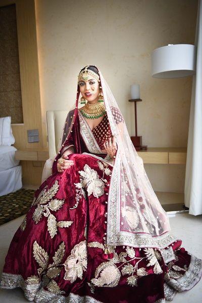 Bridal Lehenga - Marsala Velvet Lehenga with Big Embroidery Motif   WedMeGood #wedmegood #indianbride #indianwedding #lehenga #bridal #velvet #marsala