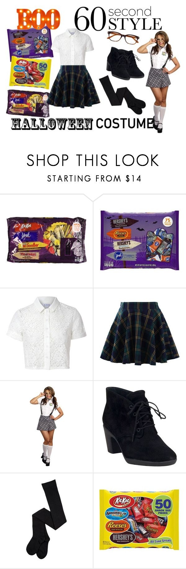"""""""Simple School Girl Costume"""" by journeyy7 ❤ liked on Polyvore featuring Hershey's, Glamorous, Chicwish and Clarks"""