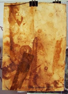Rust Prints - Transfer rust to paper with random found rusty objects and spritz with water or water and vinegar - Linda Germain