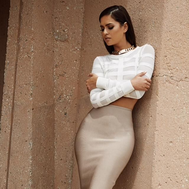 The Larina bandage crop top. Skirt is from our Yvette 2 piece  Shop: http://buff.ly/1f75zrJ