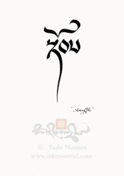 'Strength' by Tashi Mannox- I like a couple of his strength symbols as well as the symbol for inner strength , peace & the one for calmness of mind -I really like the scripts- its Tiebetan - I think nicer than having a Chinese symbol - you have to go to his website & buy the pattern for your tattooist