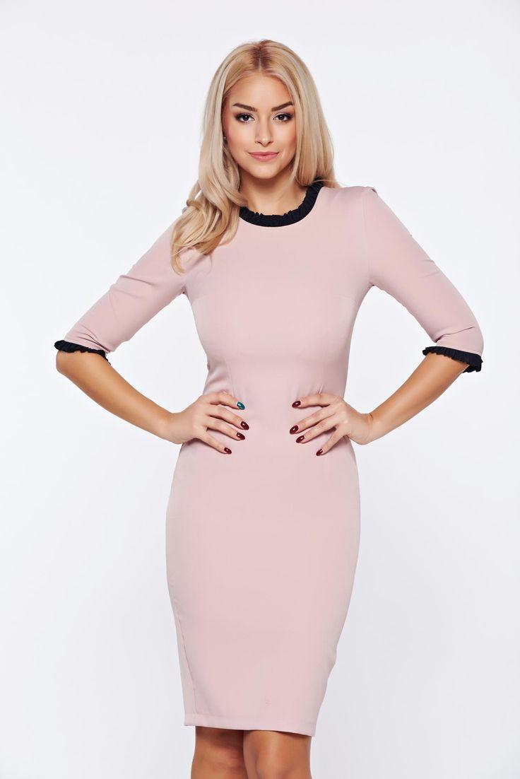 StarShinerS rosa elegant pencil dress with 3/4 sleeves, back zipper fastening, Ruffled sleeves, ruffled collar, 3/4 sleeves, tented cut