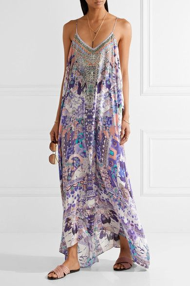 Camilla - Cold-shoulder Embellished Printed Silk Kaftan - Purple - One size