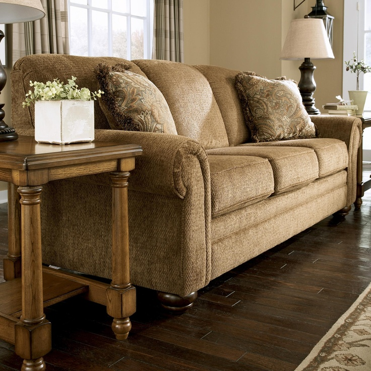 Lowery   Nutmeg Traditional Sofa With Rolled Arms And Bun Feet By Signature  Design By Ashley. Loft FurnitureFurniture MattressTraditional ...