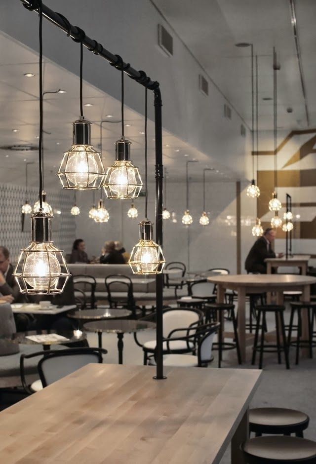 315 best cafe restaurant images on pinterest cafe for Industrial interior design lighting