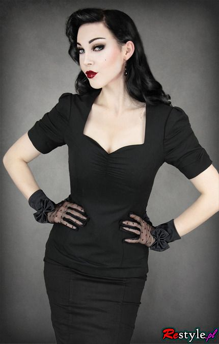 Elegant black shirt with heart neckline in retro style   CLOTHING \ Blouses   Restyle.pl