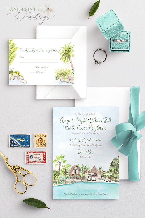 Dea Villas Bali Indonesia Wedding Invitation In 2020 Destination