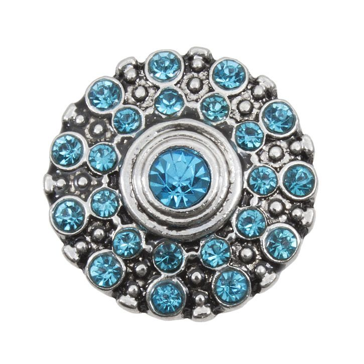 Snap! Metal with Stones Interchangeable Fastener Round With Dots 20MM Aquamarine Antique Nickel 1pc Off Price Policy - 4005-0104-064 - Club Bead Plus