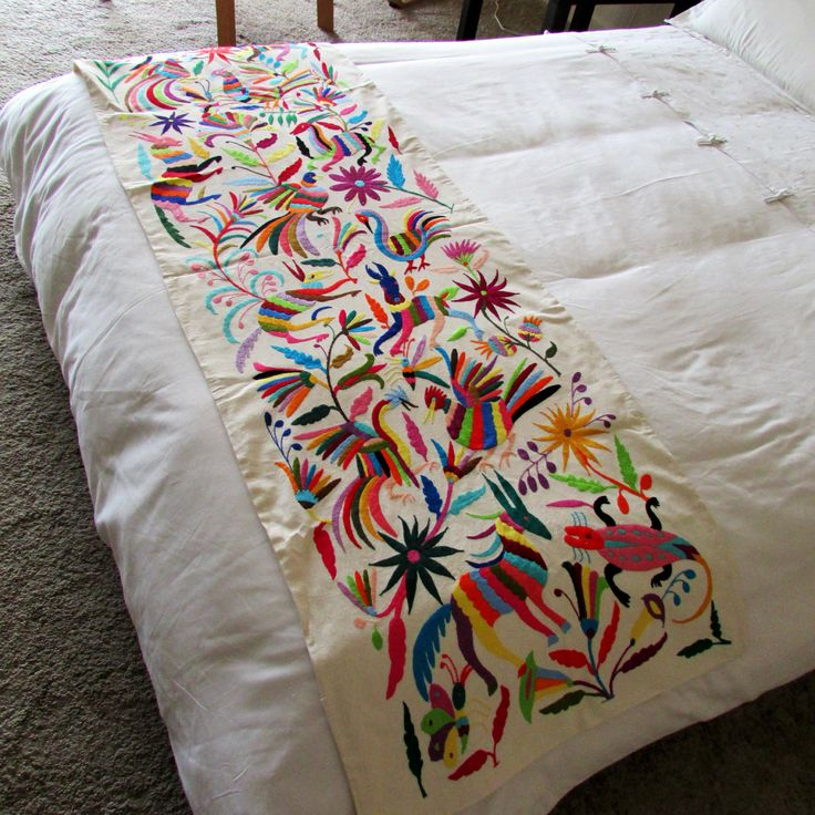 Otomi embroidered fabric full queen size bedspread Mexican embroidered bedding