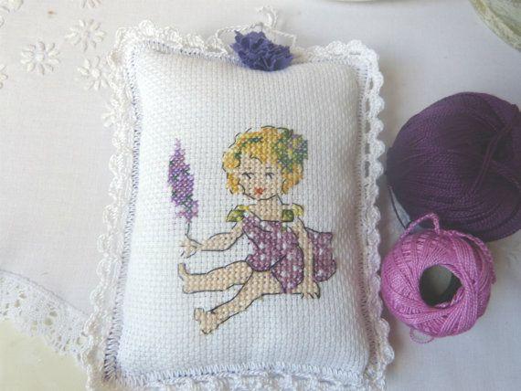 Lavender girl by CrossStitchElizabeth on Etsy