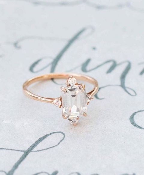 Emerald Cut Engagement Ring in Rose Gold | Camille Catherine Photography | http://heyweddinglady.com/metallic-bohemian-wedding-ideas-coral-copper