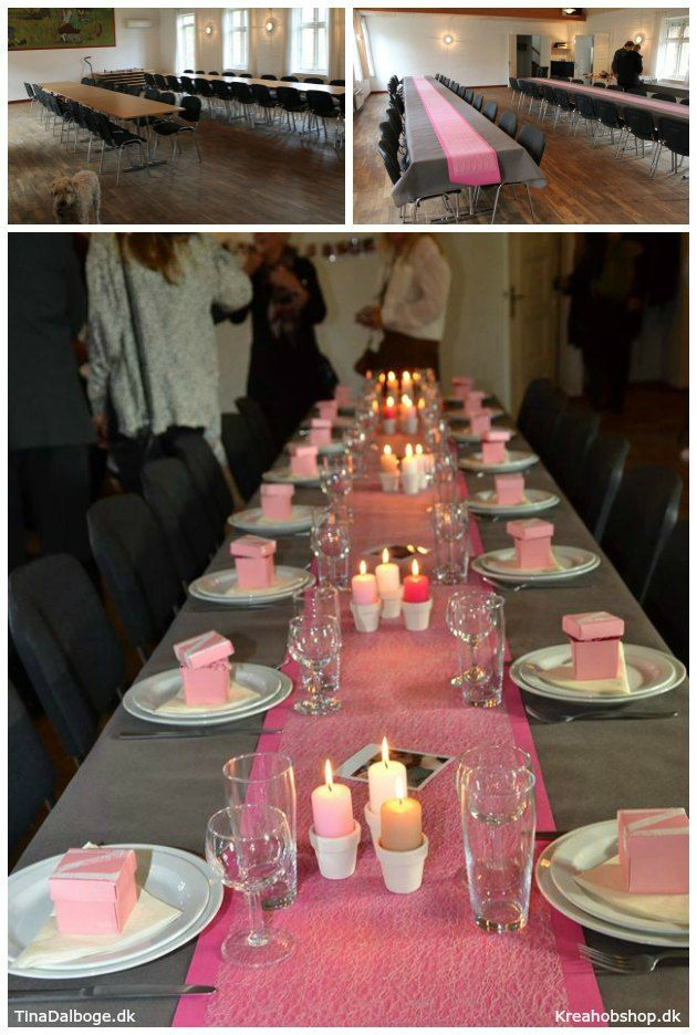 Borddækning med lys og blomster til en fest - konfirmation og barnedåb Kreahobshop