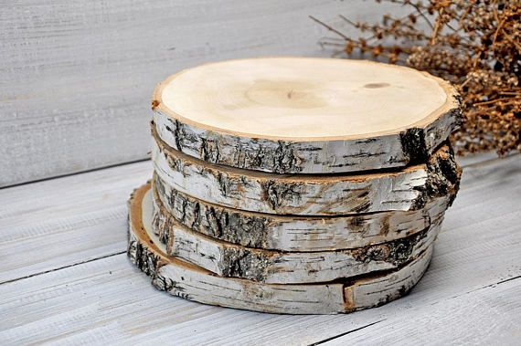 Two 11 Birch Wood Slices Centerpiece Wood Cake Stand Rustic Wedding Decorations Wood Slab Wooden Cupcake Stand Baby Shower Decorations Wood Cake Stand Wooden Cupcake Stands Rustic Cake Stands
