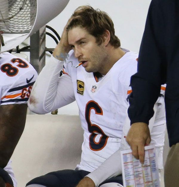 """""""Smoking Jay cutler"""" This site is dedicated to  J.C. (I am not a Cutler hater, but this website is too funny not to post. I do think the tee shirts they sell are pretty cool!)"""