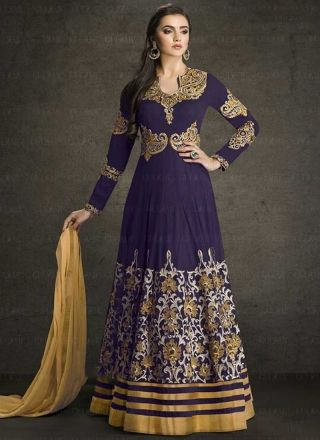 Navy Blue Beige Embroidery Work Georgette Designer Anarkali Long Gown Suit http://www.angelnx.com/Salwar-Kameez/Anarkali-Suits
