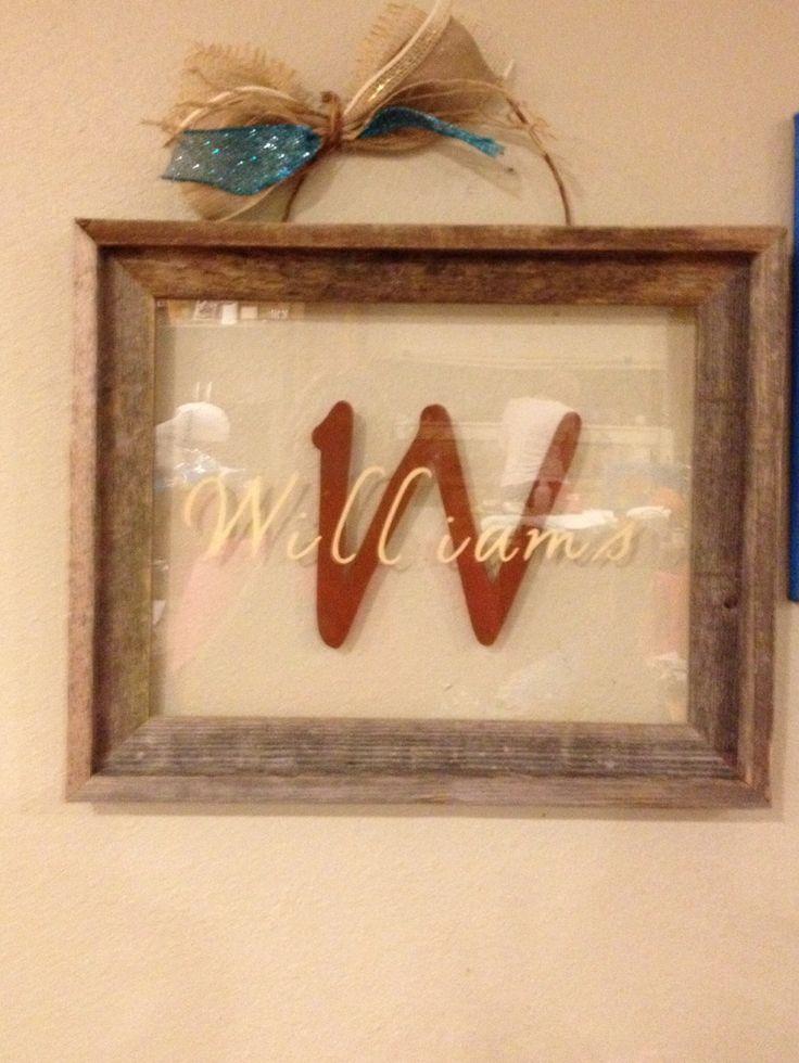 Cricut vinyl on frame