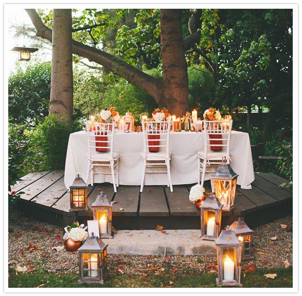 cozy outdoor fall reception