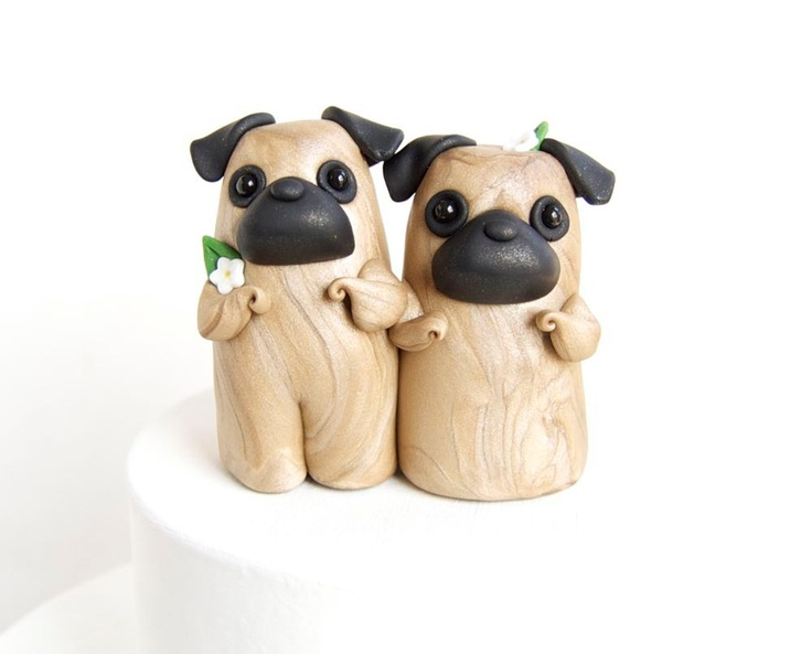Pug Wedding Cake Topper by Bonjour Poupette  via Etsy.