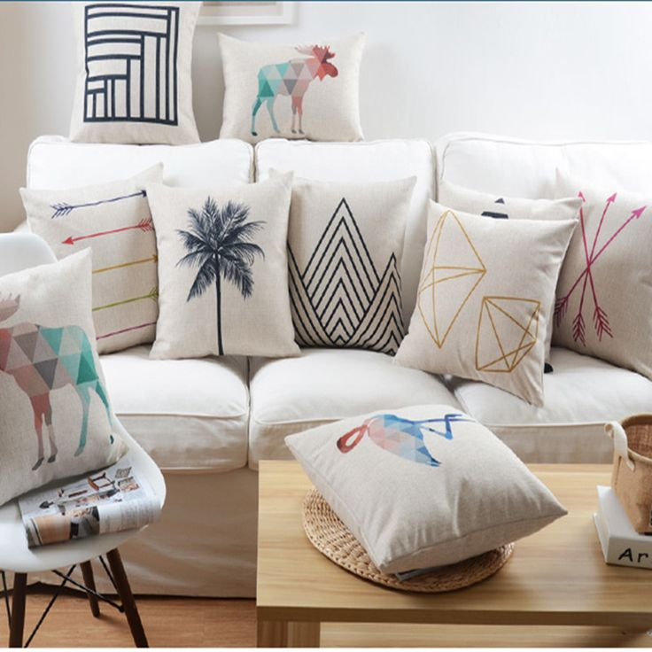 Nordic Abstract Geometric Home Decor Pillow Cushion Linen Cotton Coconut Trees Decorative Throw Pillows Free Shipping-in Cushion from Home & Garden on Aliexpress.com   Alibaba Group
