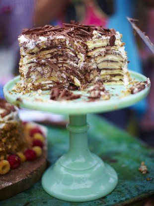 Pancake Cake from Jamie Oliver http://www.jamieoliver.com/recipes/chocolate-recipes/pancake-cake/#KVPrwIRHHY1y2EiV.97