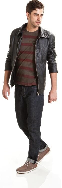Casaco Estiloso | Camiseta básica de listras | Jeans escuro | Sapatênis Line 2 Confortável | Coleção Outono Inverno 2013