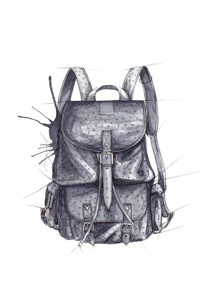 """Ryggsekk"" (Backpack)  Copyright: Emmeselle.no   illustration by Mona Stenseth Larsen"