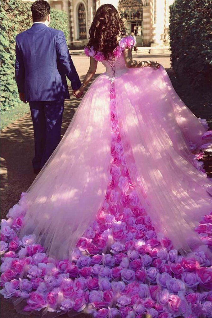 Pink Cathedral Off The Shoulder Ball Gown Vintage 3d Flower