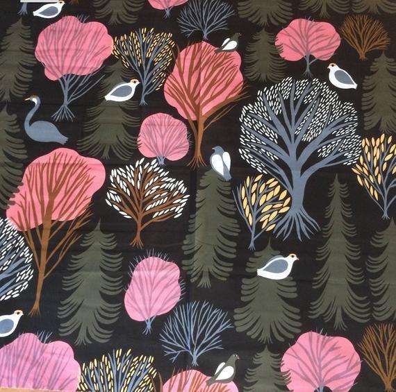 Marimekko Korpi cotton fabric sold by yard Brown, …