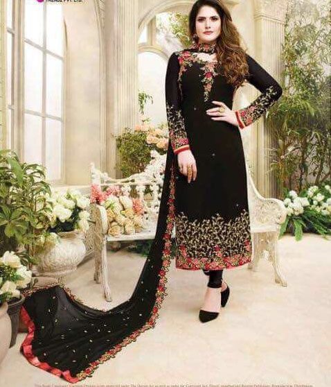 Georgette Black Beautiful Embroidered Resham Work Churidar Suit | Sahiba Collection