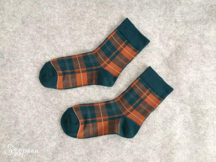 Green check pattern socks!!
