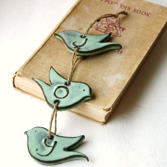 JOY Bird Wall Hanging Aqua Mist Ceramic Home by BackBayPottery