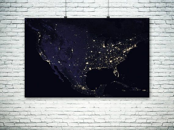 Night Lights North America  USA space map.NASA photo of North
