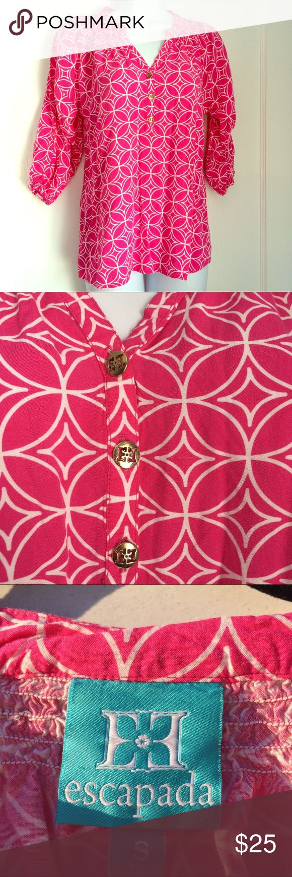 """Escapada small blouse pink geometric Escapada Women's Size Small 3/4 Sleeve Blouse Hot Pink & White Geometric Pattern Gold Button Detail Smocking At Neckline Elastic Cuffs 100% Rayon Armpit to Armpit 19"""", Shoulder to Hem 25"""", Sleeves 16"""" Excellent Condition escapada Tops Blouses"""