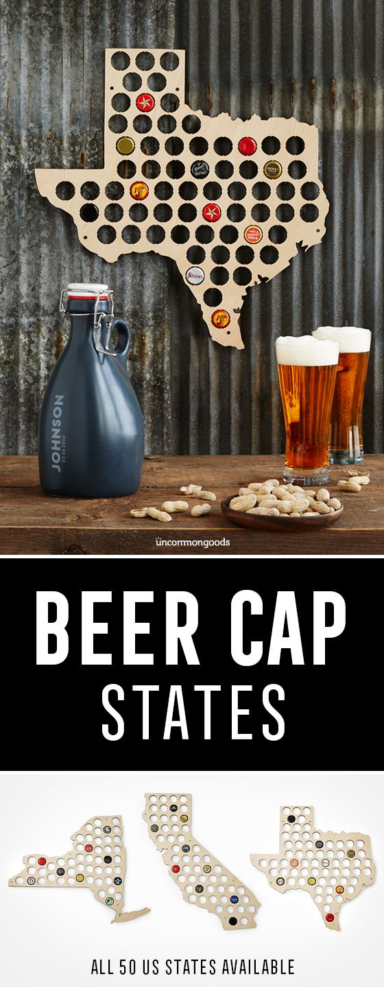 $35 - Birch plywood, state-shaped display boards are handsome holders for Dad's bottle cap collection.