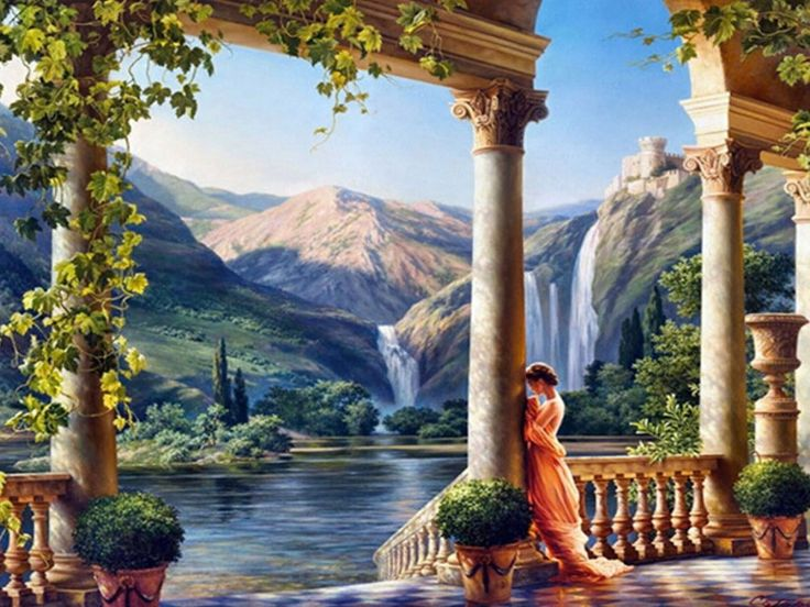 DIY 3D Diamond Painting Princess Mountain Waterfall ...
