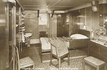 Canadian pacific ocean liners empress of canada 1st for First class cruise ship cabins