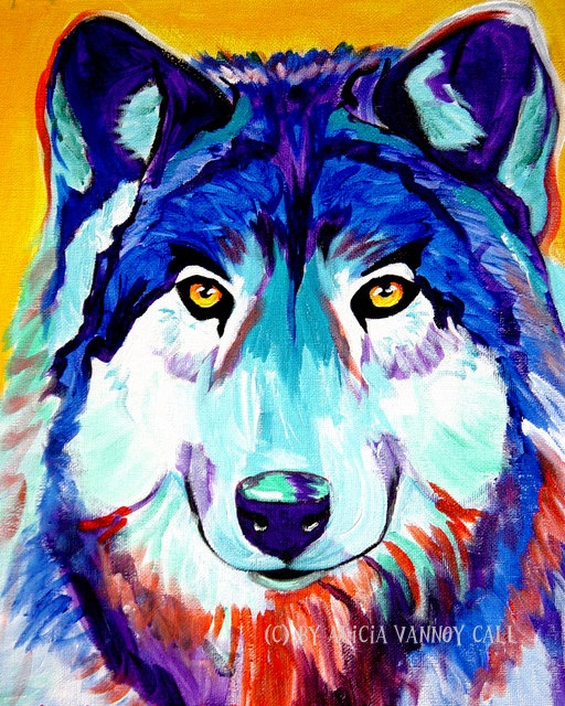 96 best images about animals in all colors on Pinterest ... Colorful Wolf Painting