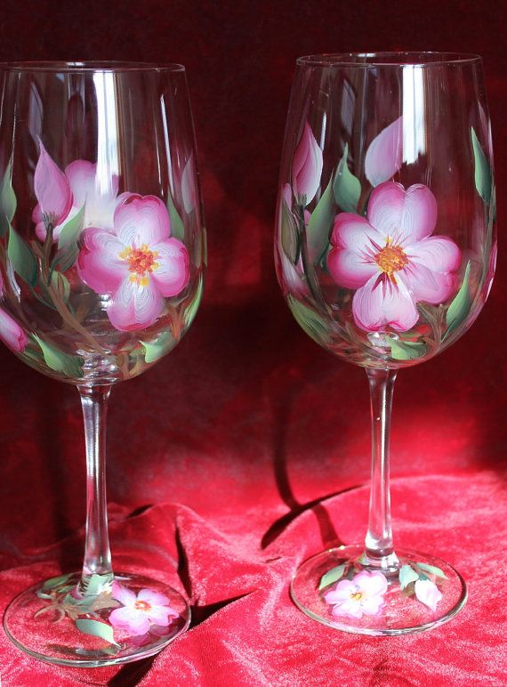 Set of 2 Hand Painted Wine Glasses Pink by SilkEleganceFlorals