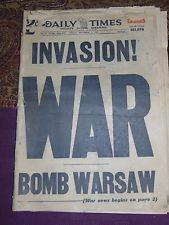 SEPT. 1, 1939 CHICAGO NEWSPAPER: WWII BEGINS AS NAZI GERMANY INVADES POLAND
