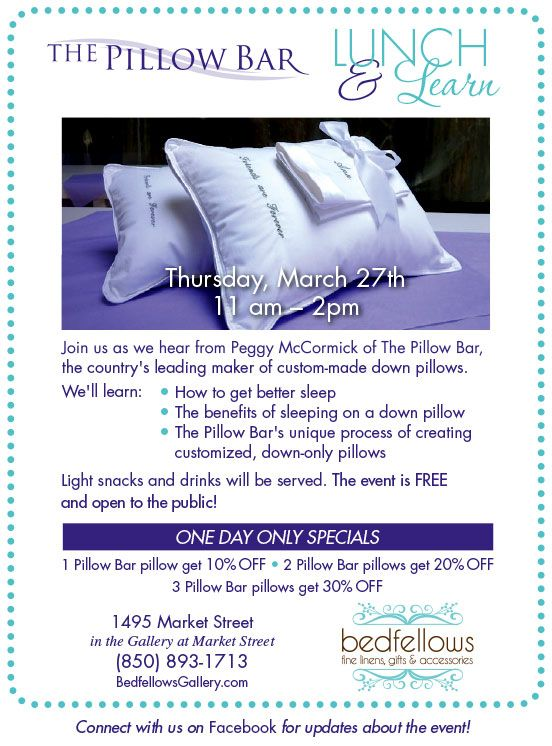 join bedfellows for a special lunch u0026 learn with the pillow bar thurs march