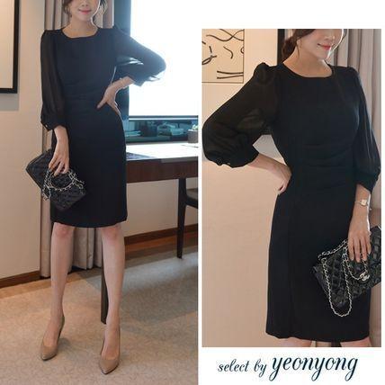 ドレス-ミニ・ミディアム シースルー袖ワンピースドレス☆上品な2カラー♪
