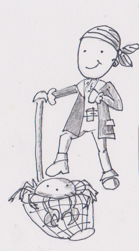 Catching crustaceans.  My little pirate in pencil.
