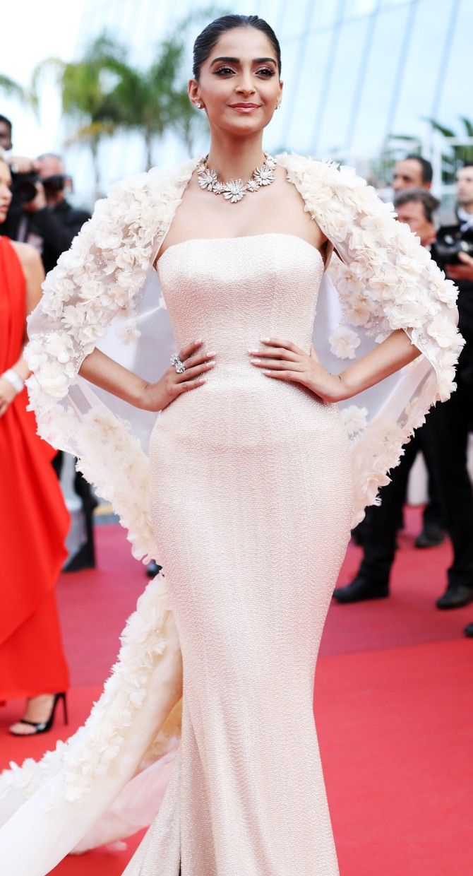 bvlgari strapless dresses | Cannes 2016: Sonam SLAYS it in a caped gown...again! - Rediff.com ...