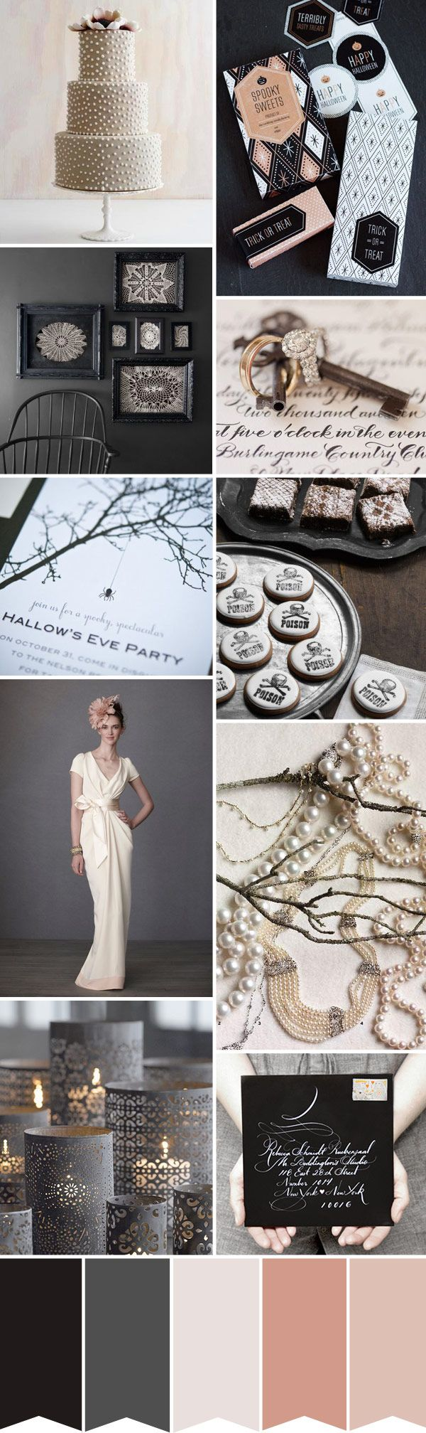 Halloween Wedding Colour Palette - Read more on One Fab Day: http://onefabday.com/halloween-wedding-spookishly-chic-inspiration/