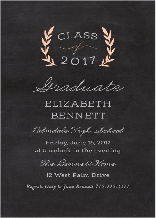 create classic announcements featuring a chalkboard background with the laurel leaves graduation invitations at the - Graduation Invitations Pinterest
