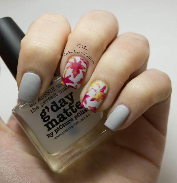 Autumn inspired matte maple leaf nail art design from The AustraNailian blog.