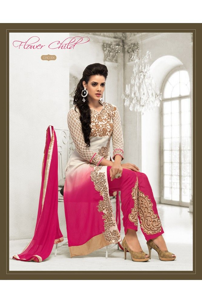 Enhance your appearance this Eid wearing this White georgette Pakistani Lawn suit. #pakistanilawnsuits #womensethnicwear #womensfashion  https://trendybharat.com/women/ethnics-wear/women-ethnic-wear-pakistani-lawn-suits/pink-and-off-white-georgette-embroidered-pakistani-styled-side-slit-suit-set-is-57-ugc-20