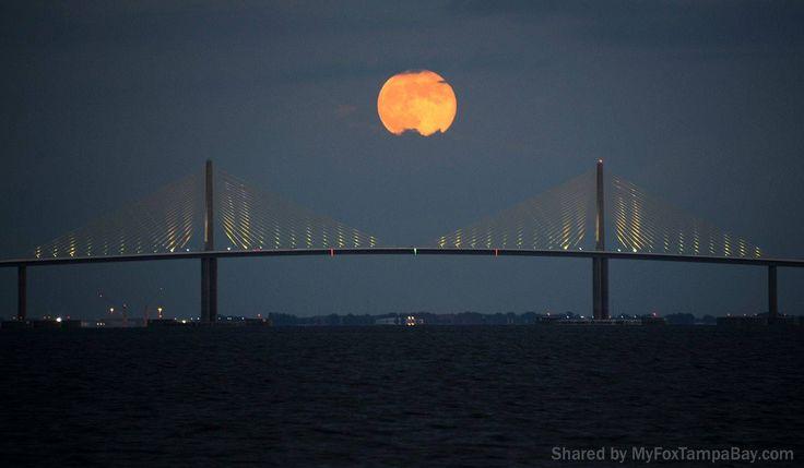 Moon rise at the Sunshine Skyway Bridge.